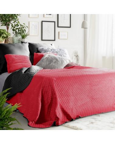 Narzuta na łóżko FILIP Eurofirany Czerwony+Czarny welurowa