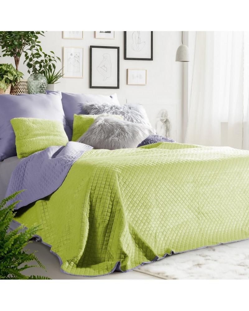 Narzuta na łóżko welurowa 170x210 FILIP Eurofirany Sałata+Lila Narzuta welurowa na łóżko FILIP Eurofirany Sałata+Lila