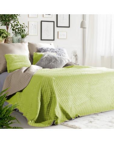 Narzuta welurowa na łóżko FILIP Eurofirany Sałata+Beż