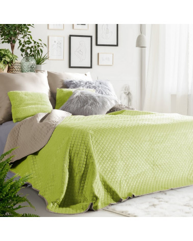 Narzuta na łóżko welurowa FILIP Eurofirany Sałata+Beż dwa rozmiary  Narzuta welurowa na łóżko FILIP Eurofirany Sałata+Beż