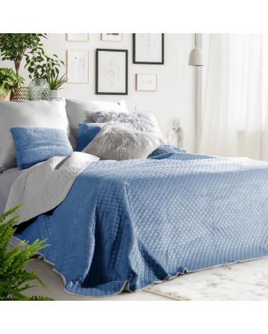 Narzuta welurowa na łóżko 220x240 FILIP Eurofirany Granat+Stal