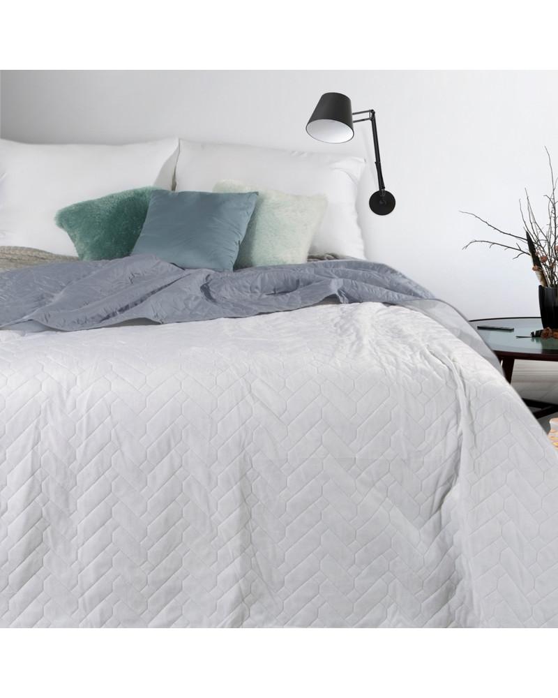Narzuta na łóżko lub fotel LUIZ design 91 Biały+Srebrny trzy rozmiary Narzuta welurowa LUIZ design 91 Biały+Srebrny