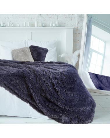 Koc narzuta na łóżko lub fotel Lettie Eurofirany włochacz granatowa trzy rozmiaryt