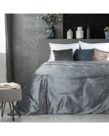 Narzuta na łóżko welurowa MADY Eurofirany srebrna 2 rozmiary