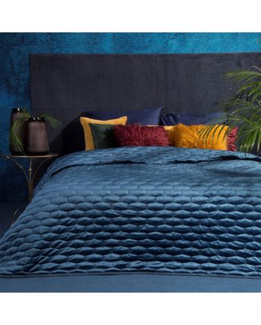Narzuta na łóżko welurowa 220x240 ROB Eurofirany Granatowa
