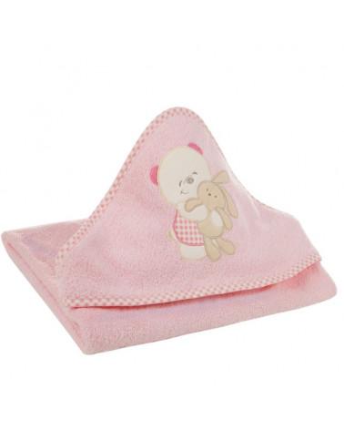 Okrycie kąpielowe niemowlęce 100x100 Baby Eurofirany Różowy