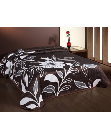 Narzuta na łóżko dwustronna 220x240 LOVETTA Brązowa Eurofirany