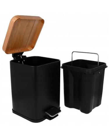 Kosz na śmieci czarny pokrywka bambusowa Brunbeste