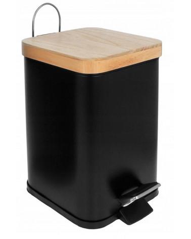 Kosz na śmieci czarny pokrywka bambusowa Brunbeste  Kosz na śmieci czarny pokrywka bambusowa Brunbeste