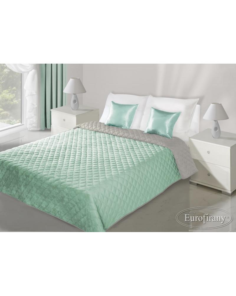 Narzuta na łóżko welurowa EVITA Eurofirany Mięta+Stal dwa rozmiary Narzuta EVITA Eurofirany