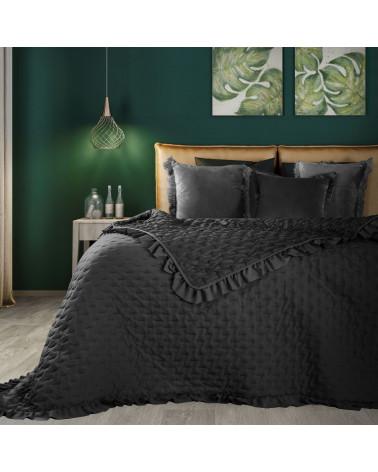 Narzuta na łóżko z falbaną LIBI Eurofirany Czarna dwa rozmiary