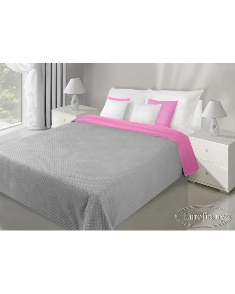 Narzuta na łóżko  welurowa FILIP Eurofirany Stal+J.Róż dwa rozmiary Narzuta welurowa na łóżko FILIP Eurofirany Stal+J.Róż