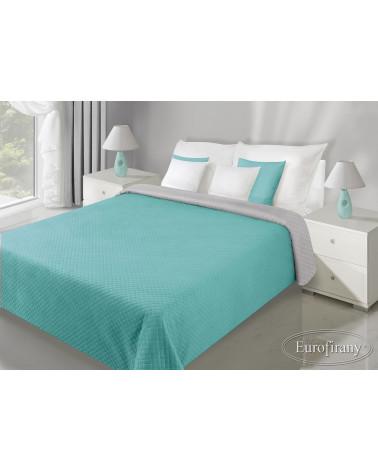 Narzuta na łóżko welurowa FILIP Eurofirany Mięta+Stal dwa rozmiary  Narzuta welurowa na łóżko FILIP Eurofirany Mięta+Stal