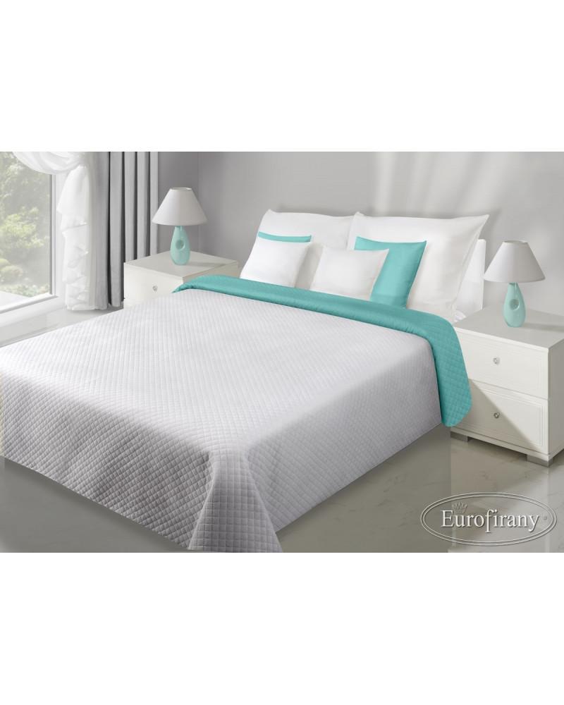 Narzuta na łóżko welurowa FILIP Eurofirany Stal+Mięta dwa rozmiary Narzuta welurowa na łóżko FILIP Eurofirany Stal+Mięta