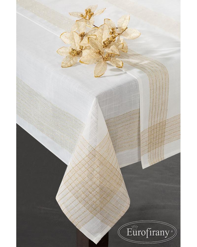 Bieżnik 40x180 GOLD/1 Eurofirany biały+złoty Obrus świąteczny