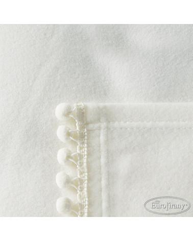 Koc 150x200 Asta z pomponami Eurofirany Krem  Koc narzuta polarowy 150x200 Asta z pomponami super soft Eurofirany